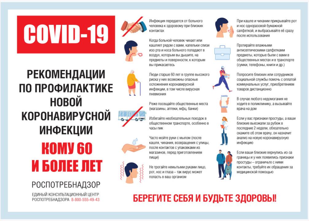 Роспотребнадзор. Рекомендации по профилактике коронавирусной инфекции COVID-19